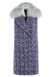 Emilio Pucci Virgin Wool Sleeveless Coat With Fur Collar Multicolor