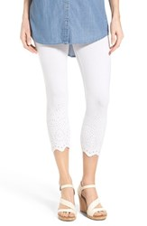 Women's Hue Eyelet Trim Capri Leggings White