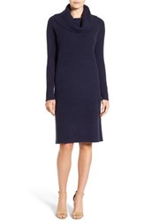 Halogenr Women's Halogen Cowl Neck Sweater Dress Navy Black Marl