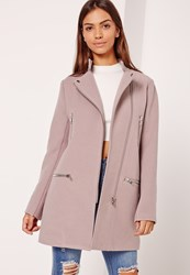 Missguided Collarless Biker Coat Lilac Mauve