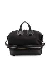 Givenchy Nightingale Canvas And Leather Satchel Bag Black