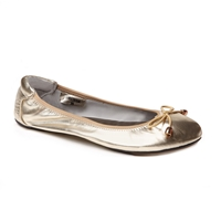 Sandringham Leather Foldable Ballerina Gold
