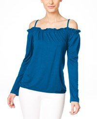 Inc International Concepts Off The Shoulder Peasant Blouse Only At Macy's Caribe Blue