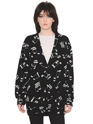 Saint Laurent Music Notes Jacquard Knit Cardigan