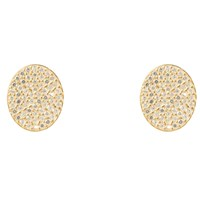 Latelita London Oval Disc Gold Pave Stud Earring