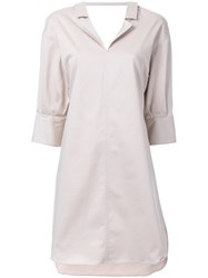 Miharayasuhiro Scoop Back Shirt Dress Brown
