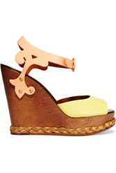 Dolce And Gabbana Patent Leather Wedge Sandals Yellow