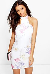 Boohoo Floral Scallop Neck Detail Bodycon Dress Multi