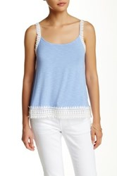 Dex Scoop Neck Crochet Trim Cami Blue