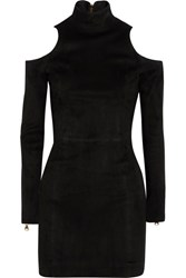 Balmain Cutout Suede Mini Dress Black