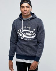 Jack And Jones Hooded Sweat With Front Logo Navy