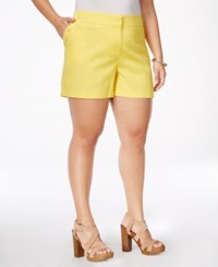 Stoosh Plus Size Textured Sailor Shorts Yellow