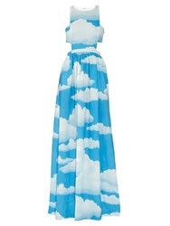 Mara Hoffman Cloud Print Linen Racer Back Maxi Dress Blue Multi