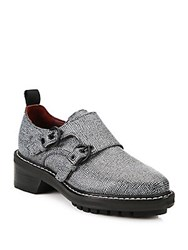 Rag And Bone Konrad Monk Strap Embossed Leather Oxfords Grey