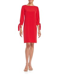 424 Fifth Tied Cuff Shift Dress Red