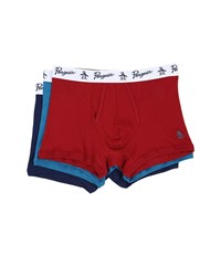 Original Penguin 100 Cotton 3 Pack Trunk Biking Red Seaport Medieval Blue Men's Underwear Multi