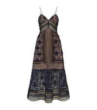 Self Portrait Floral Lace Slip Dress Female Navy