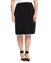 Misook Textured Stripe A Line Skirt Black White