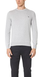 Lacoste Crew Neck Sweater Silver Grey Chine