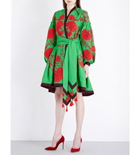 Yuliya Magdych Flower Shell Embroidered Linen Kaftan Shamrock Red