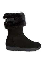 Aquatalia By Marvin K Willow Suede Faux Fur Boots Black
