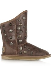 Australia Luxe Collective Angel Studded Shearling Ankle Boots Brown