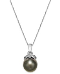 Macy's Tahitian Pearl 10Mm And Diamond Accent Pendant Necklace In 14K White Gold Gray