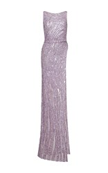 Zuhair Murad Asymmetrical Length Embroidered Tulle Top Purple