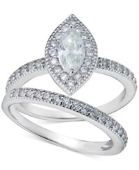 Giani Bernini Cubic Zirconia Marquise And Pave Ring Set In Sterling Silver Only At Macy's