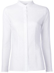 Sophie Theallet Perforated Mandarin Collar Shirt White