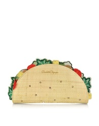 Charlotte Olympia Taquera Taco Shaped Clutch Beige