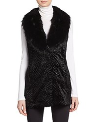 Ivanka Trump Textured Faux Fur Vest Black