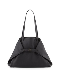 Akris Ai Small Leather Shoulder Tote Bag Black
