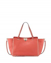 Valentino Rockstud Medium Grain Leather Tote Bag Deep Coral