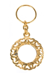 Chanel Vintage Linked Logo Keyring Metallic