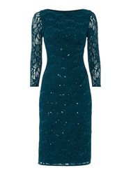 Eliza J All Over Sequin Lace Shift Dress Hunting Green