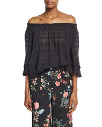 Rebecca Taylor Sheer Embroidered Gauze Knit Top Black
