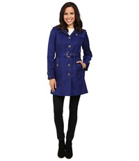 Michael Michael Kors Single Breasted Belted Trench M721911l74 Sapphire Women's Coat Blue