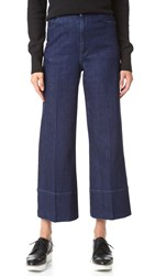 Stella Mccartney Cropped Wide Leg Pants Dark Blue