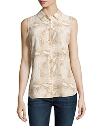Equipment Colleen Snake Print Sleeveless Blouse Nude