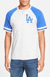Mitchell Ness 'Los Angeles Dodgers Visiting' Raglan Henley Heather Grey