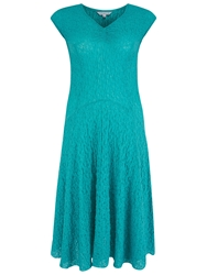 Chesca Ruched V Neckline Bubble Dress Turquoise