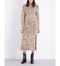 Pringle Of Scotland Waffle Knit Cashmere Jumper Dress Vanilla Camel Drk Clay