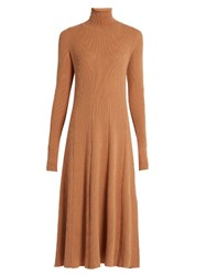 Ryan Roche Roll Neck Ribbed Knit Cashmere Dress Beige