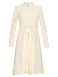 Alexander Mcqueen Stand Collar Leaf Crepe Tailored Jacket Cream