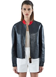 Marni Leather Bomber Jacket Black
