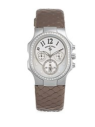 Philip Stein Teslar Diamond Mother Of Pearl And Stainless Steel Snake Band Watch Bronze