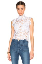 Theperfext Sabrina Crochet Lace Sleeveless Top In White