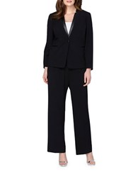 Tahari By Arthur S. Levine Plus Starneck Leather Collar One Button Jacket Pant Suit Black