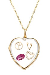 Loquet 14Kt Heart Locket With 18Kt Gold Charms And Ruby Multicolor
